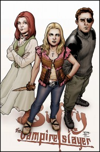 "Willow, Buffy, and Xander from ""Buffy the Vampire Slayer"" in their season 8 comic incarnations."