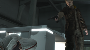 "Daniel Cross (upper right) as he appears in ""Assassin's Creed III"" sometime in the middle of the game, aiming a gun at Desmond Miles (lower left), the game's protagonist."