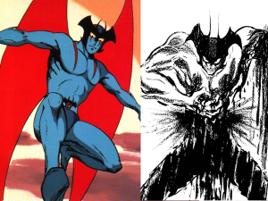 Devilman as he appears in the anime (left) versus his appearance in the manga (right)