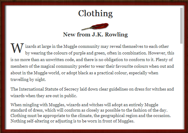 New information from J.K. Rowling about fashion in the wizarding world.