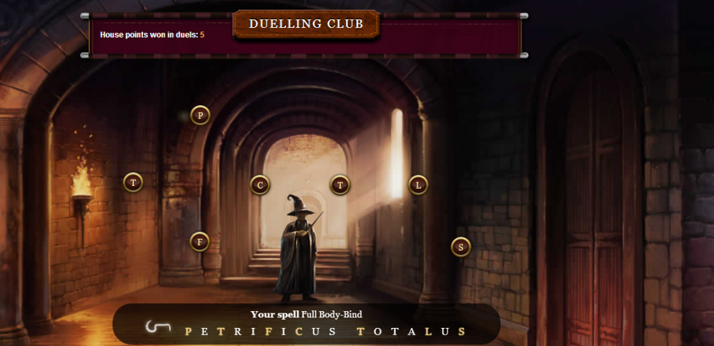 You can duel against players from other houses to win house points. To win, you have to type the letters in a certain order, then retype them when the glowing circle reaches it's peak size. The player with the highest score wins the duel.