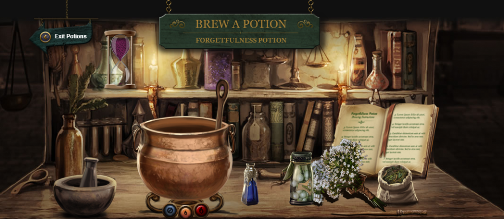 Users click and drag ingredients to either the cauldron or the mortar to be crushed. Then, the potion must be stirred either clockwise or anti-clockwise, and certain temperatures must be attained to create the potion. A time limit makes the process even trickier.