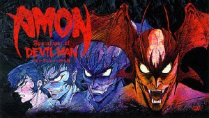"Promotional art for ""Amon: The Apocalypse of Devilman,"" an anime adaption based on a reimaging of the series"